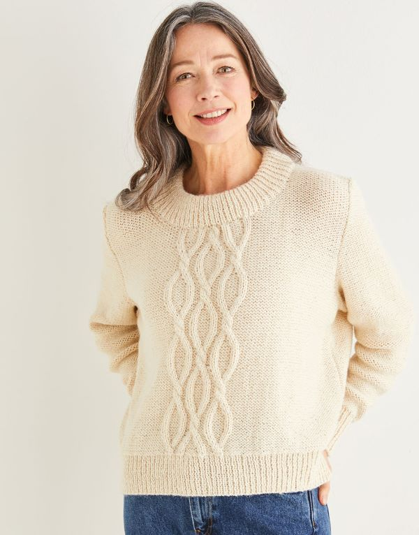 Knitting Pattern by Sirdar - Saltaire Cable Front Sweater 10174