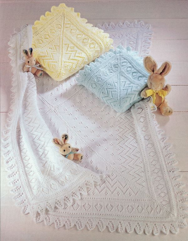 Knitting Pattern by SIrdar - Baby Shawls in Snuggly, 3 Ply, 4 Ply & DK