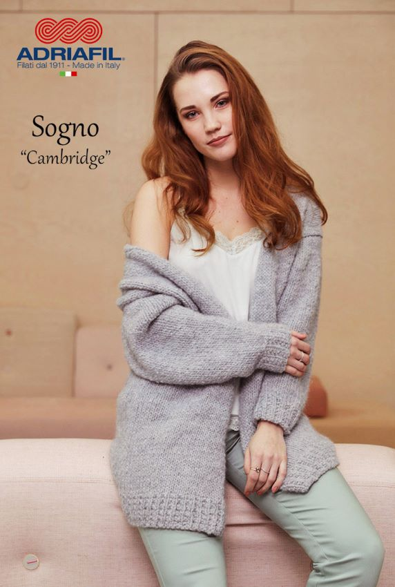 Knitting Pattern for the Slouchy Cambridge Cardigan by Adriafil especially for Sogno Yarn