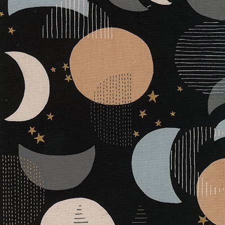 Canvas Fabric with Moons and Stars on Black from Trefle for Kokka