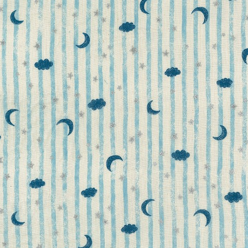 Double Gauze Fabric with Moons, Stars and Clouds on a Striped Background from Blue Sky Trefle for Kokka