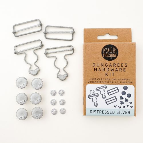 Dungaree Hardware Kit in Distressed Silver by Kylie and the Machine
