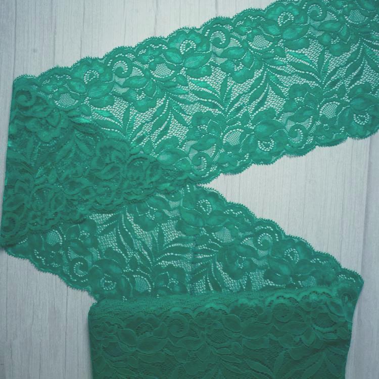 Bra Making 15cm Emerald Green Stretch Galloon Bra Lace
