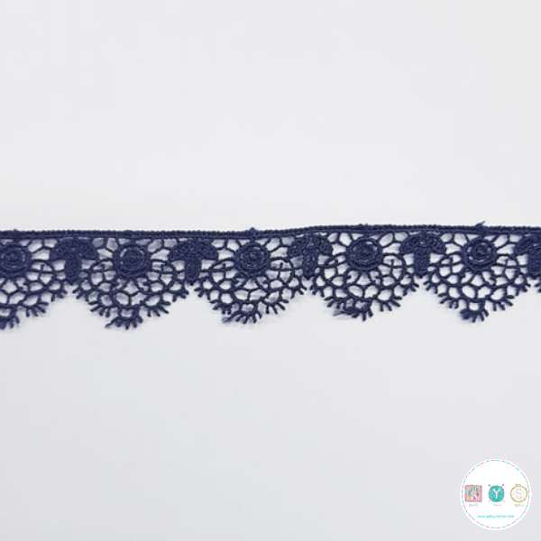 Navy Blue Lace Trim - 1 inch - Guipure - Edging - Haberdashery