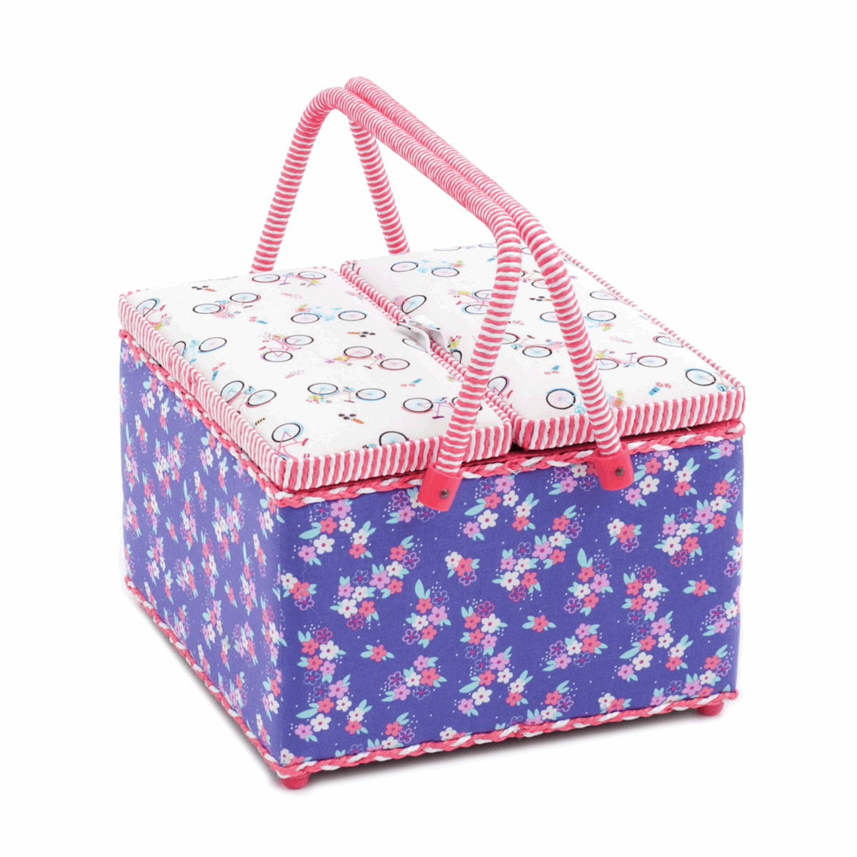 Large Twin Lid Sewing Box with Bicycle Design