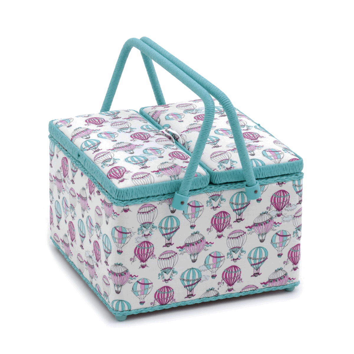 Large Twin Lid Sewing Box with Hot Air Balloon Design