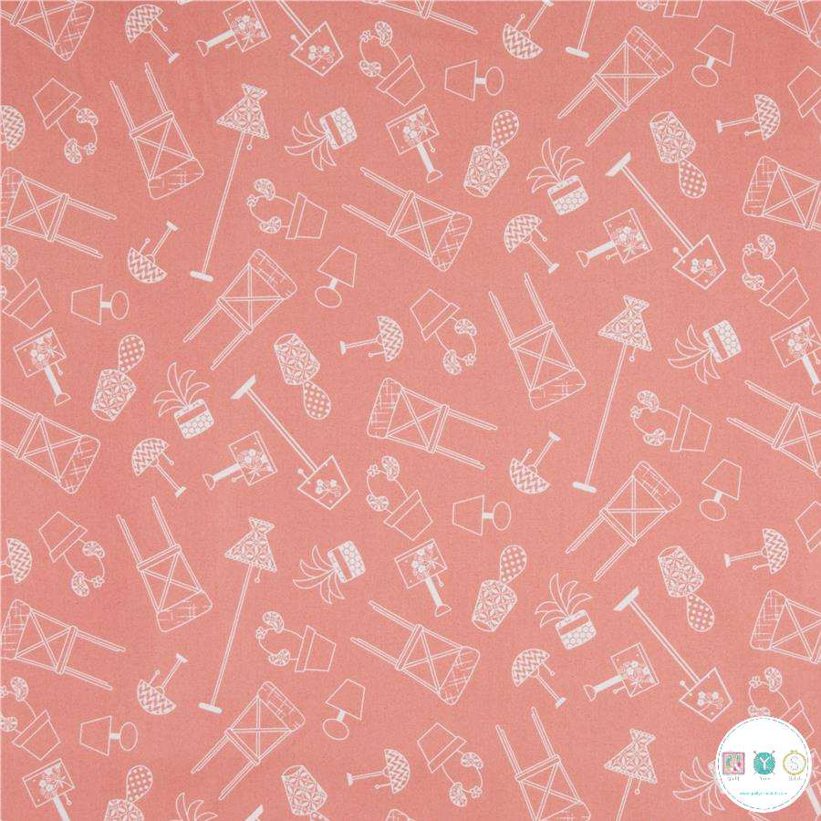 Make Yourself At Home - Dusky Pink Furniture Fabric - 100% Cotton - Maywood Studios - Patchwork & Quilting