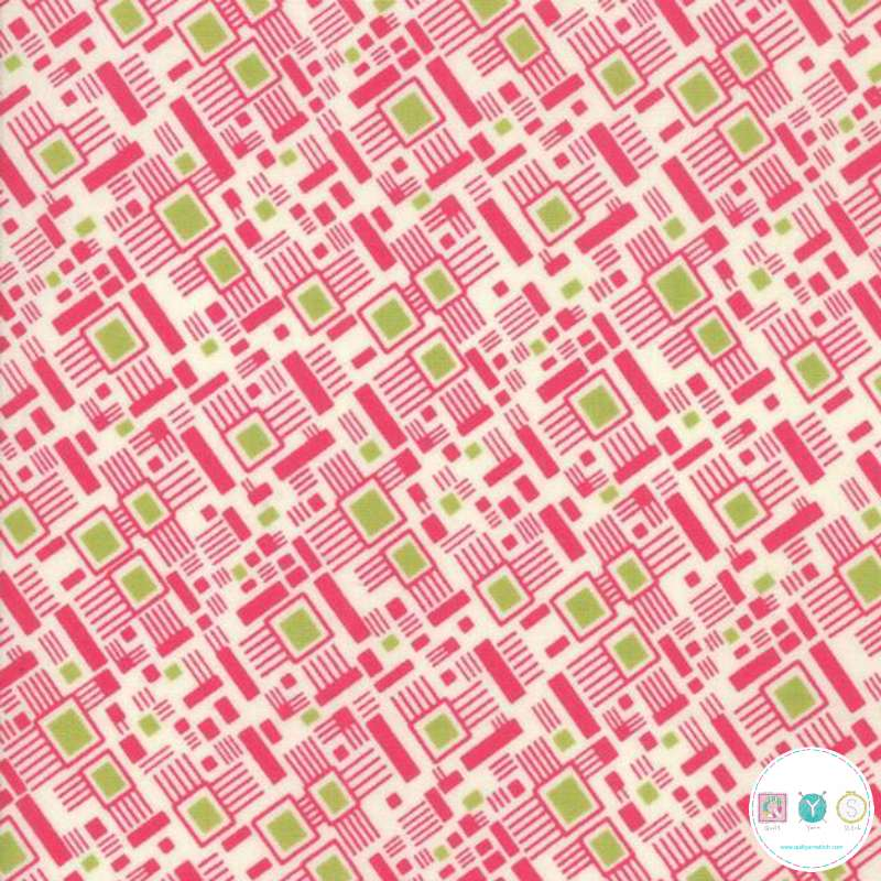 Pink Geometric Pattern - Looking Forward - Cotton Lawn Fabric - Jen Kingwell for Moda - Patchwork & Dressmaking