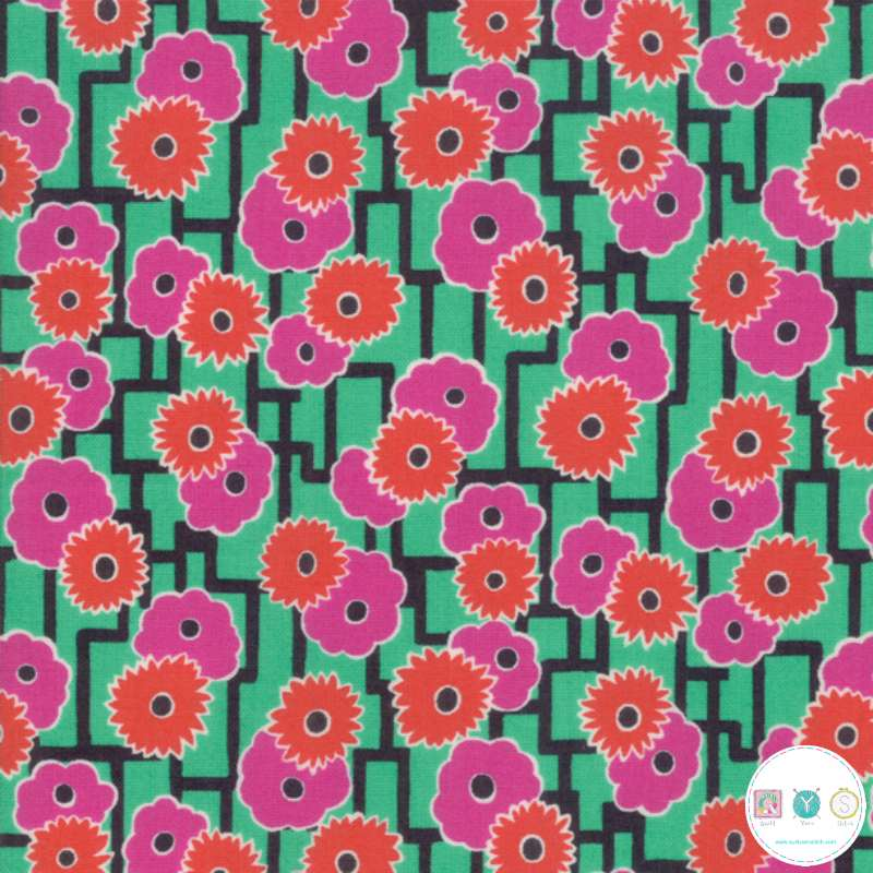 Poppies On Green - Looking Forward - Cotton Lawn Fabric - Jen Kingwell for Moda - Patchwork & Dressmaking
