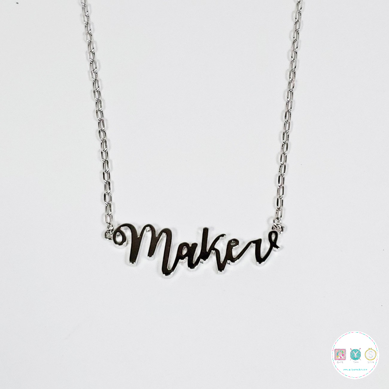 """Gift Idea - Maker Necklace - 20"""" Silver - Nickel Free - by The Quilt Spot - Gifts"""