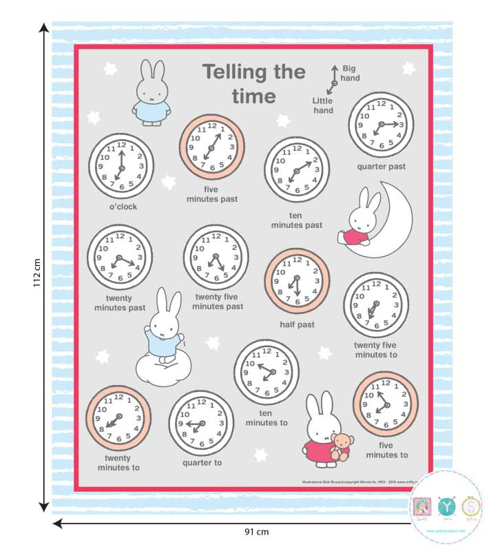 Miffy Telling The Time Fabric Panel - Craft Cotton Co - Patchwork & Quilting