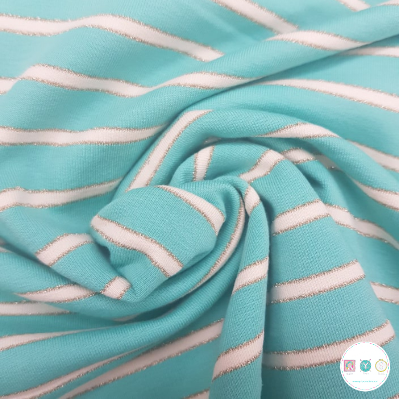 Aqua Mint Green - Lurex Stripe - French Terry - 240gr/m2 - Dressmaking Fabric