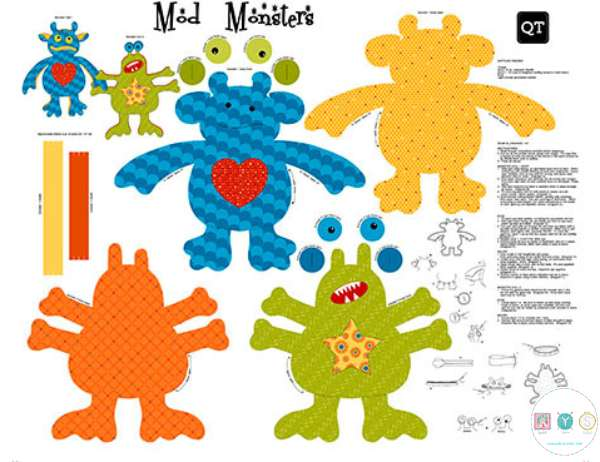 Mod Monsters Stuffables - Childrens Fabric Panel - Sew and Go - by Quilting Treasures