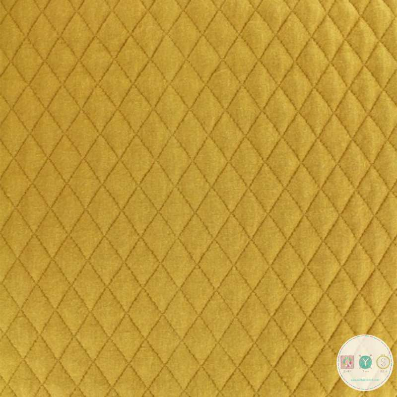 Mustard Yellow  - Quilted Stretch Fabric - 10010/ - Cotton Polyester Blend - Dressmaking Textiles