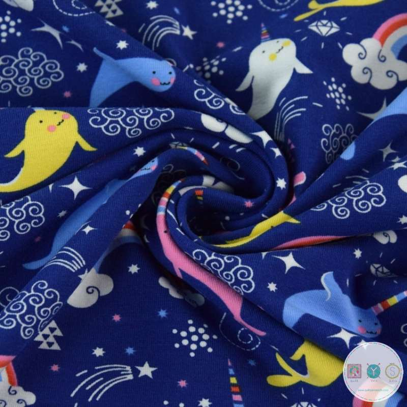 Narwhals on Navy Blue - Novelty - Cotton Jersey - Childrens Textiles - Dressmaking Fabric