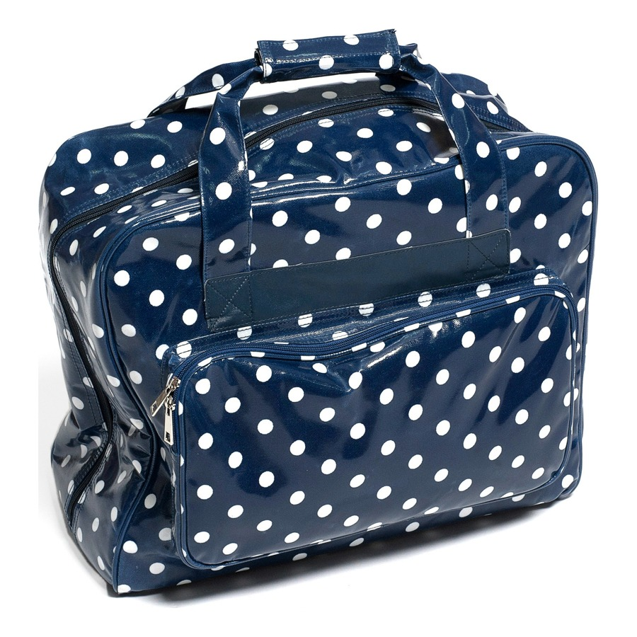 Navy Polka Dot Vinyl Sewing Machine Bag - Carry Craft Tote