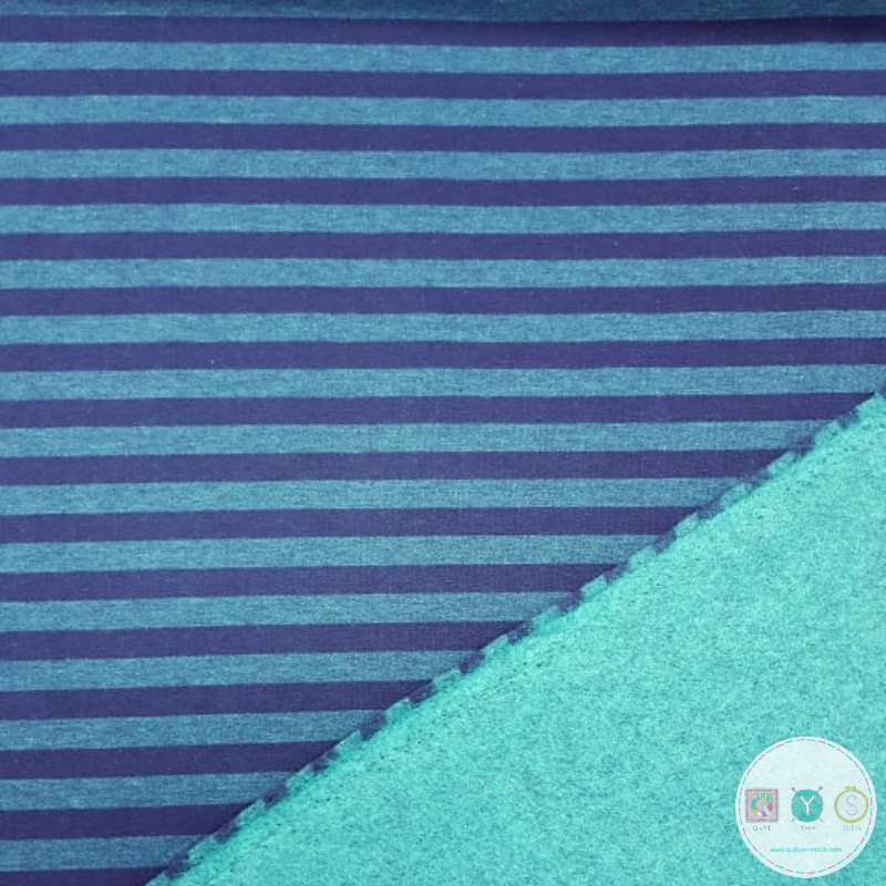 Navy and Teal Melange Sweat Fabric - Double Sided Stretch Fleece Style Jersey - Dressmaking Textiles