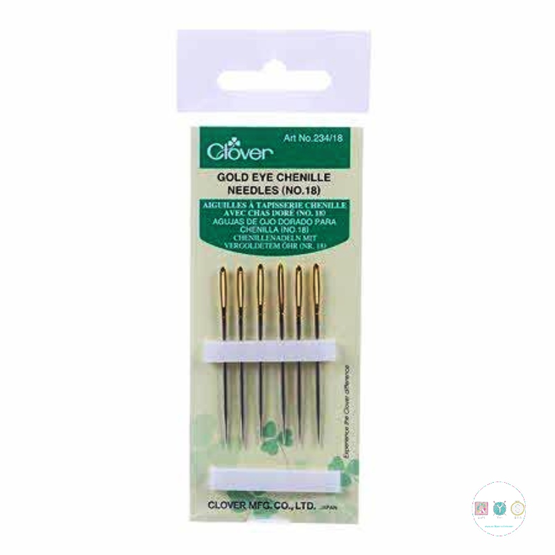 Clover Chenille Needles - No. 18 - Gold Eye - Sewing Needles