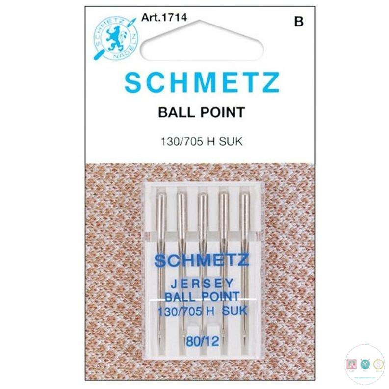 Schmetz - 80/12 Ballpoint Sewing Machine Needles - Jersey Sewing - 5 pack - Uncarded
