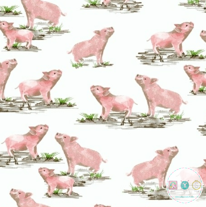 Pigs on the Farm - Farmyard Fabric - by Whistler Studios For Windham Fabrics - Patchwork & Quilting