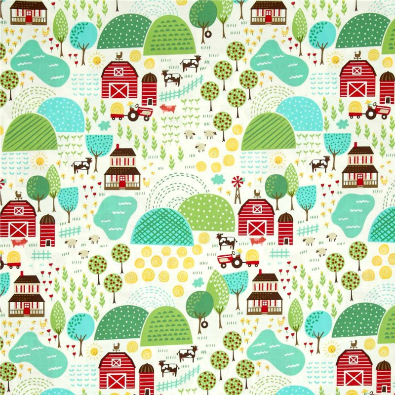 Farm Fun Farmyard - Childrens Cotton Material by Stacy Iest Hsu for Moda Fabrics - Patchwork & Quiltin