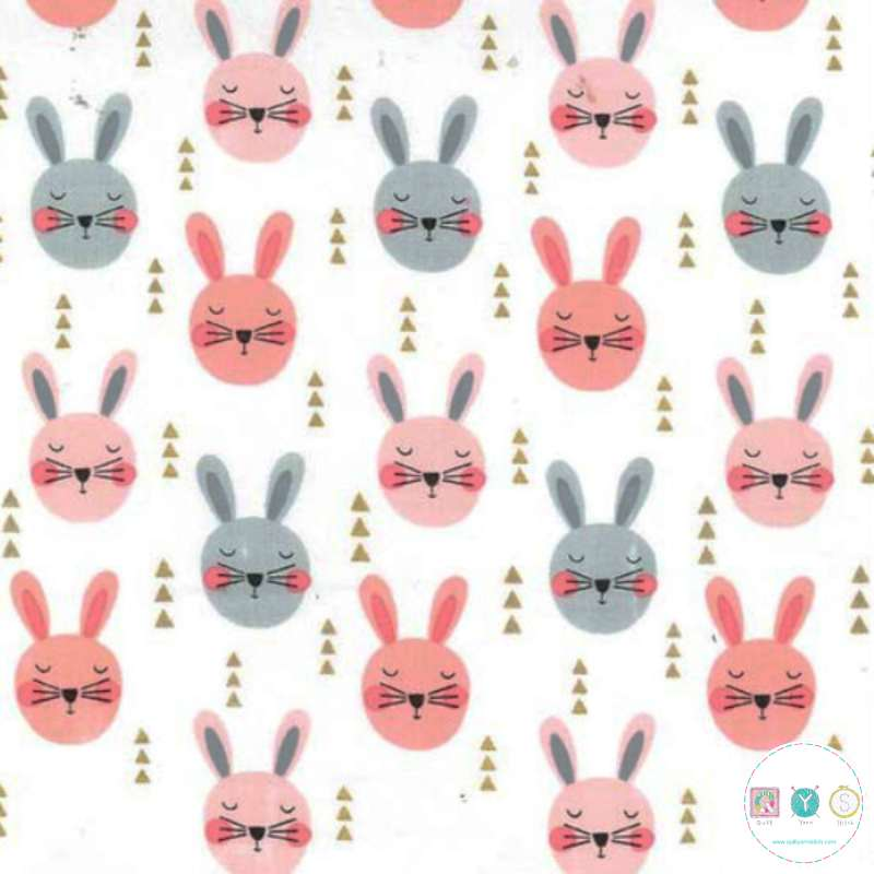 Pink Bunny Rabbits  - Glitter Critters - Michael Miller Fabrics - Patchwork & Quilting