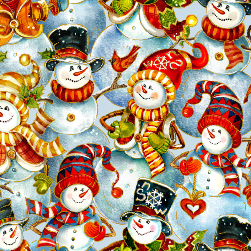 2020 Christmas Collections Fabric Christmas Snowmen Faces by Oasis Fabrics, Noel 2020 collection