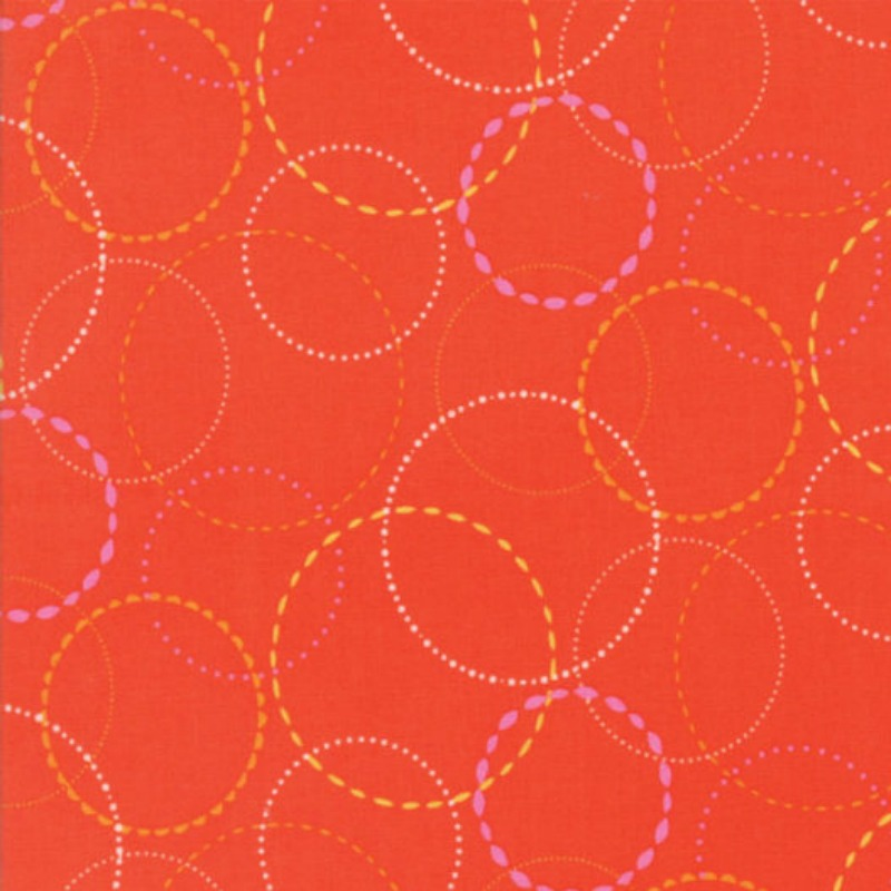 Wing & Leaf Orange Circles by Gina Martin for Moda Fabrics - Patchwork & Quilting