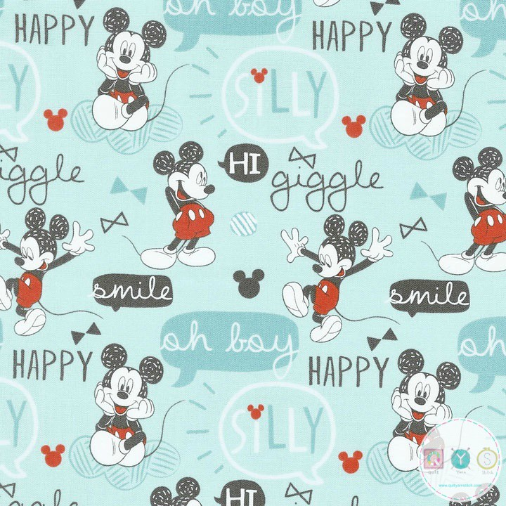 Mickey Mouse Fabric Oh Boy On Blue Classic Disney