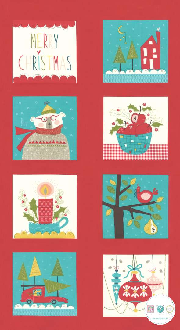 Oh What Fun - Xmas Fabric Panel - Cotton Christmas Panel - by Sandy Gervais for Moda Fabrics - Patchwork & Quilting