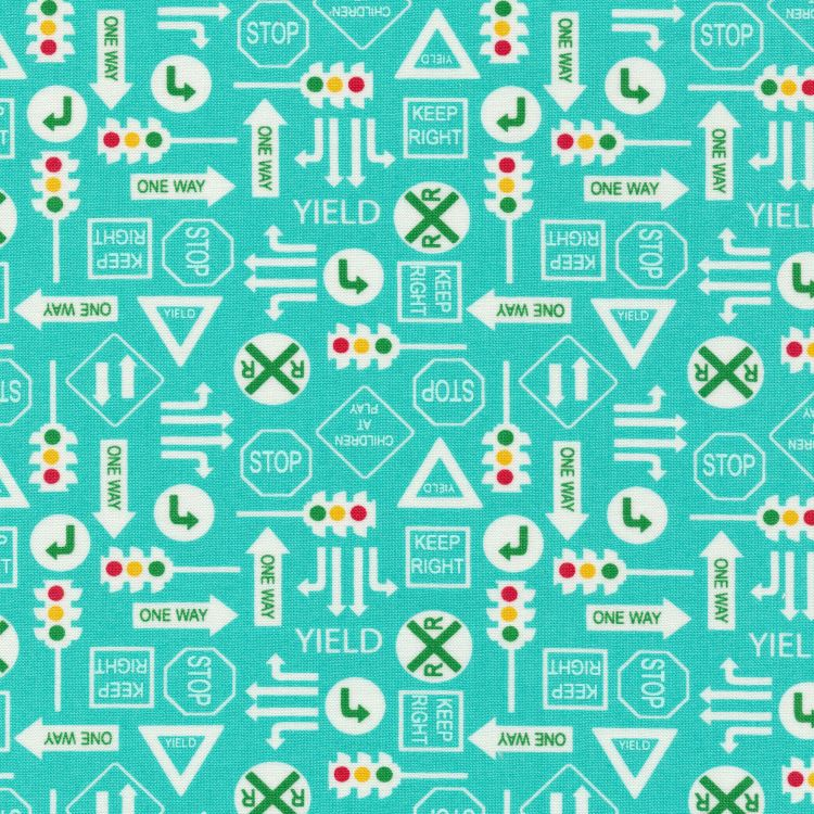 Quilting Fabric - Traffic Signs from On The Go by Moda Fabrics