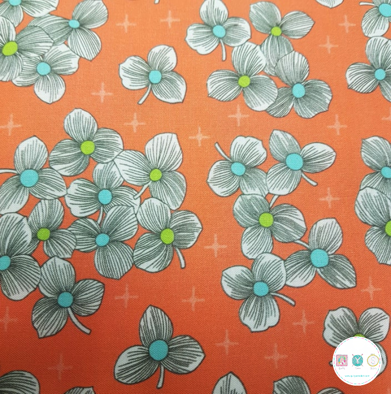 Lexi - Orange Modern Floral - by Joan Hawley of Lazy Girl Designs - Quilting Treasures - Patchwork & Quilting