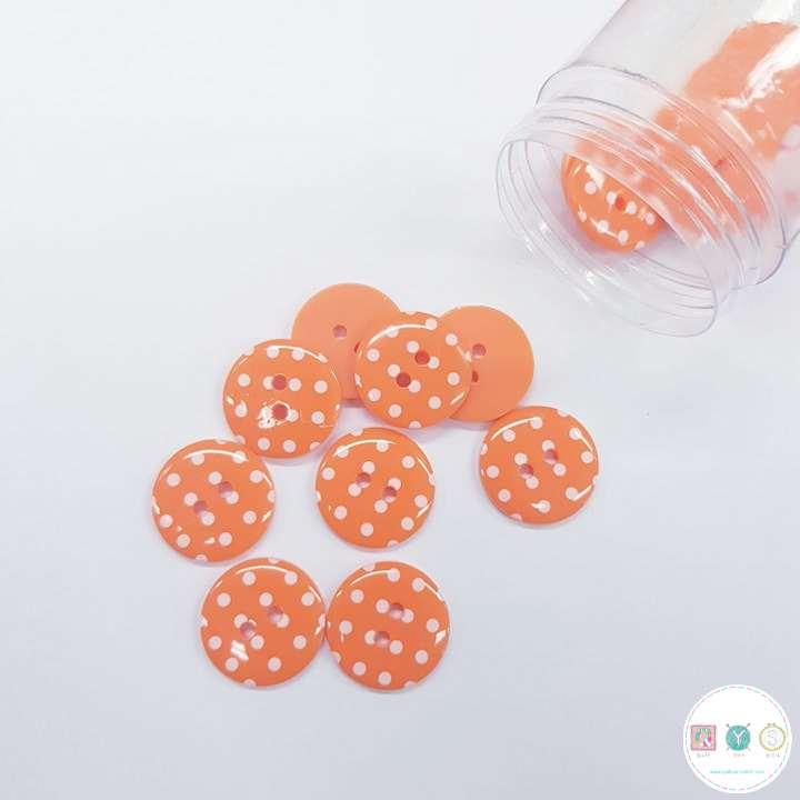 Orange Spotty Button - 18mm - PLastic - Flat Sew Through - Haberdashery
