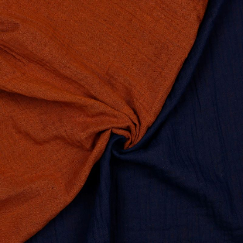 Organic Double Gauze Fabric - Double Sided Rust and Navy