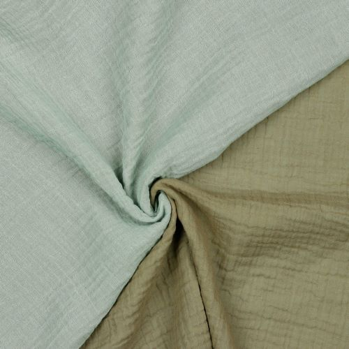 Organic Double Gauze Fabric - Double Sided Nile and Taupe