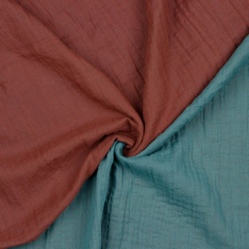 Organic Double Gauze Fabric - Double Sided Rouge and Sage Green