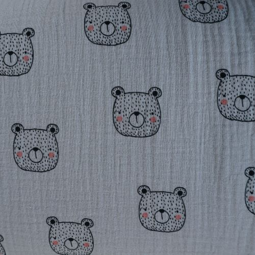 Organic Double Gauze Fabric with Bears On Taupe