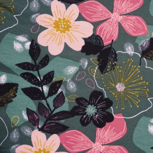 Organic Soft Sweat Jersey Fabric with Large Flowers On Green