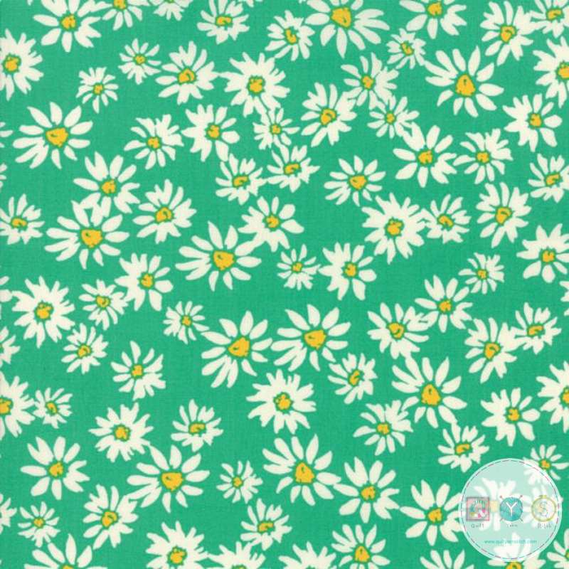 Turquoise Green Daisies - Daisy Flowers - Floral - Painted Garden by Crystal Manning for Moda Fabrics - Patchwork & Quilting
