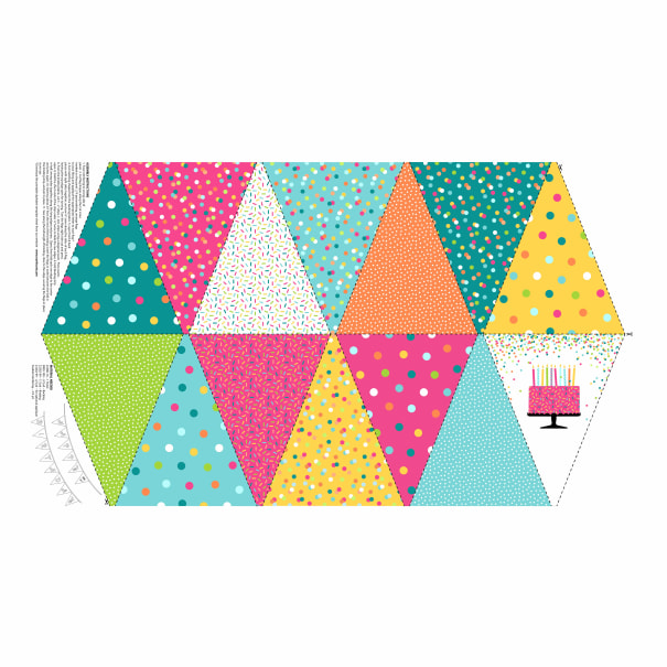 This Calls For Cake - Bunting - Cotton Fabric Panel - by Northcott - Patchwork & Quilting