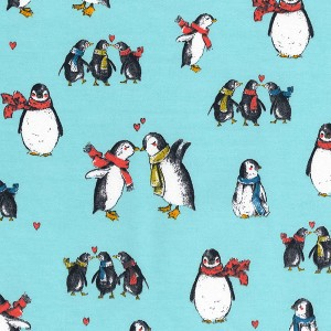 Penguins On Blue - Cotton Mix Sweater Fabric - Jersey - Dressmaking Textiles