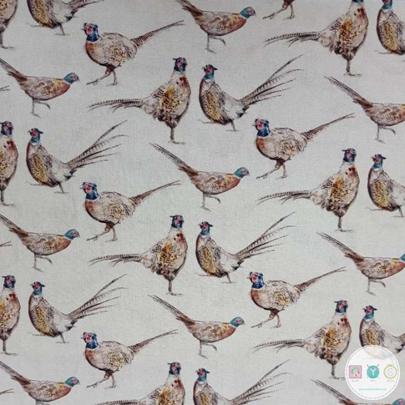 Pheasants - Birds  - Cotton Percale Fabric - 150cm - by Indigo Fabrics - Patchwork Quilting & Craft Textiles