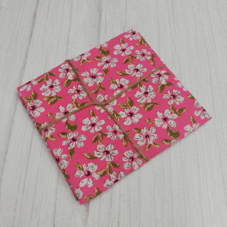 Quilting Fabric - Cotton Square with White Flowers on Pink by Sew Cool
