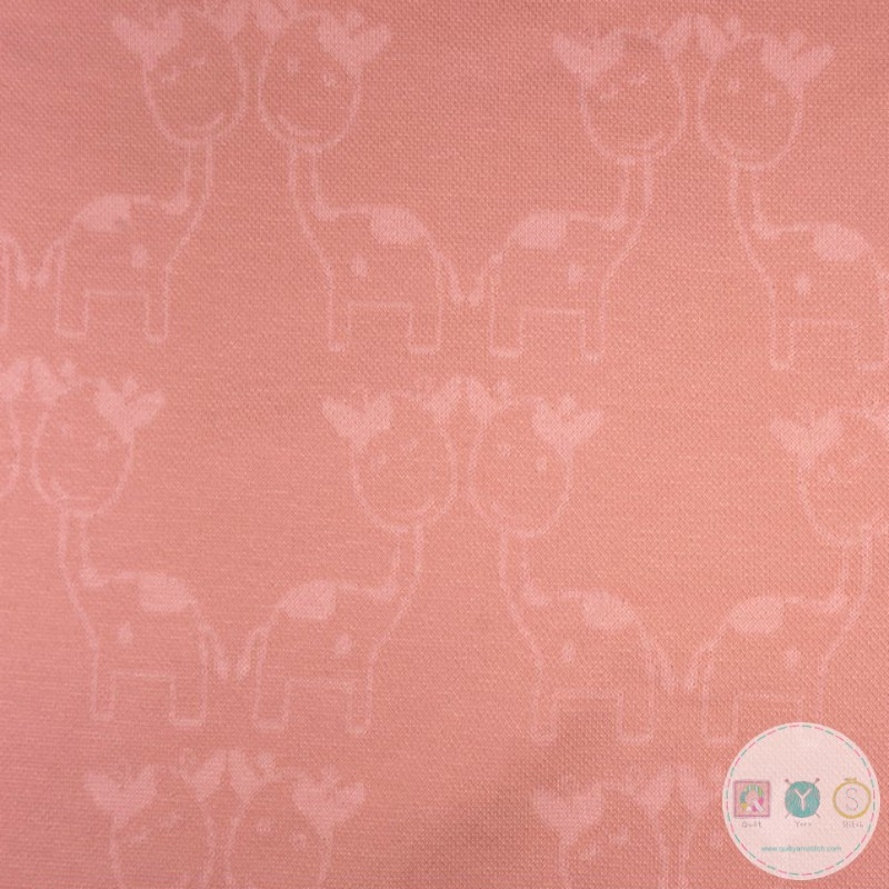 Pink Jacquard Jersey - Giraffes by Anneke - Childrens Sweatshirt Fabric - Dressmaking
