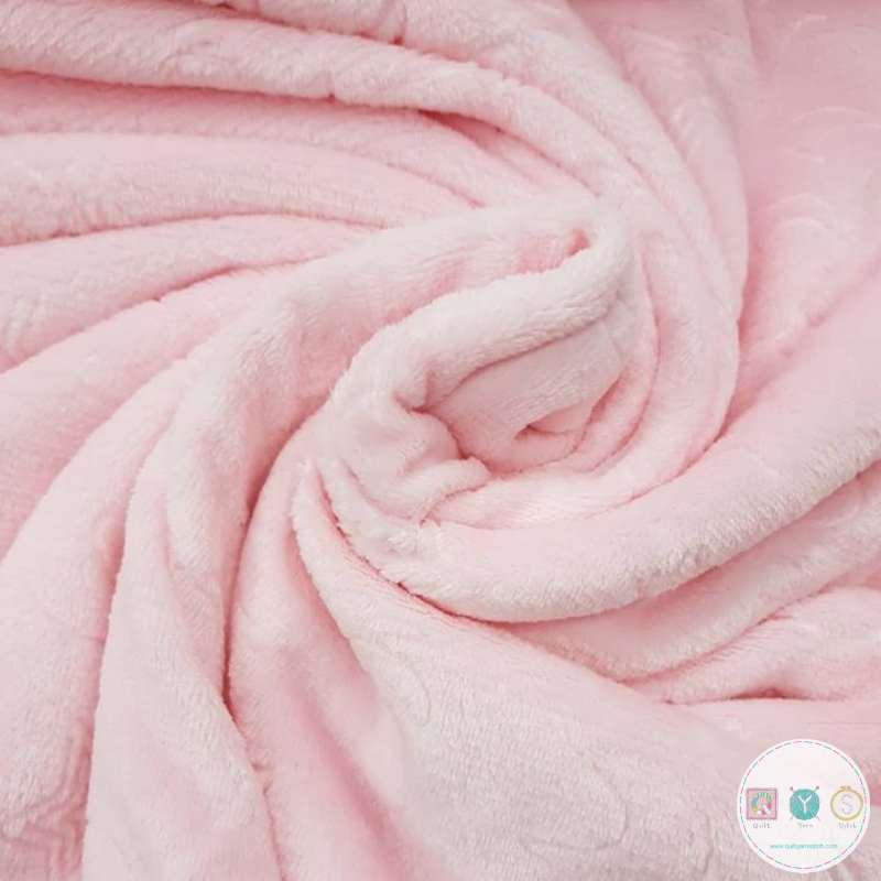 Baby Pink Moon Stars - Flannel Jacquard Extra Cuddle Soft Minky Style - Fleece Fabric