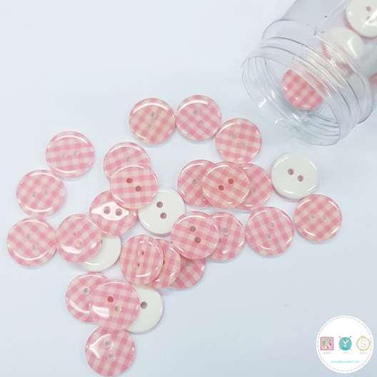 Pink Gingham - 12mm - 2 Hole - Flat - Sew-Through - Plaid - Button - Haberdashery