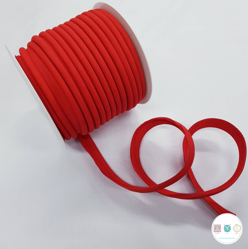 Byetsa Fany Bias Binding Piping - Red - 18mm - Insertion Cord - Trimming - 18mm - Haberdashery