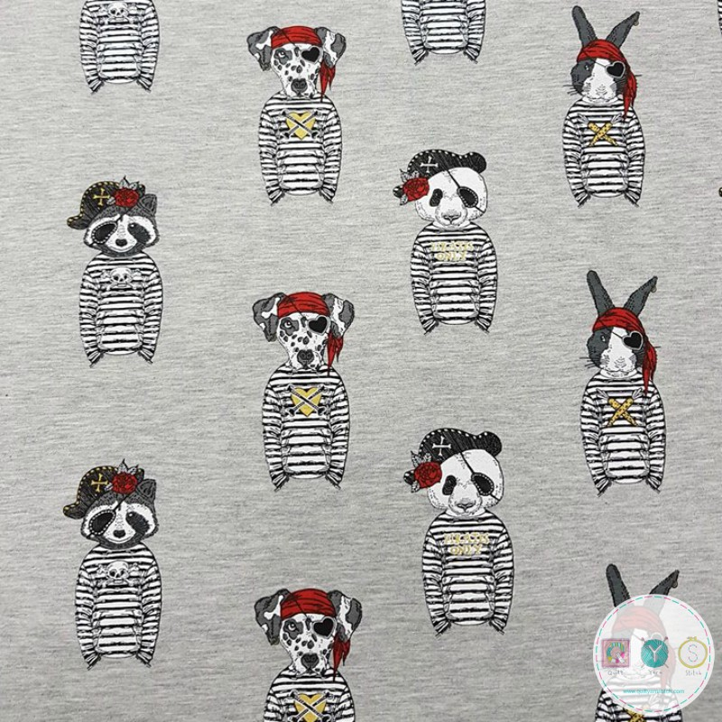 Pirate Animals Grey Jersey Knit Fabric by Stenzo Textiles - T-Shirt Fabric - Dressmaking