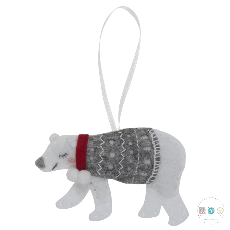 Gift Idea - Make Your Own Felt Polar Bear - Christmas Tree Decoration - Beginners Festive Crafty Childrens Kit - by Trimits