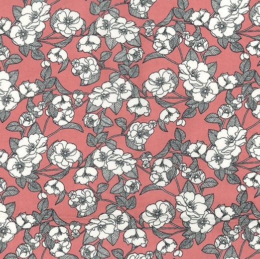 Sketch Flowers On Rose - Cotton Poplin Fabric - by Rose & Hubble - Craft & Dressmaking